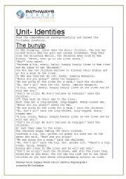 English Worksheet: Th Bunips- Folk tale from Japan