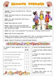 English Worksheet: Summer Holidays -reading comprehension