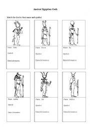 English Worksheet: Activity Egyptian Gods