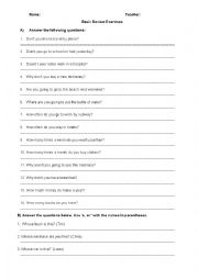 English Worksheet: Negative Questions/How Often/Going to/How many/How much/How many times/Whose/There Be/Comparatives