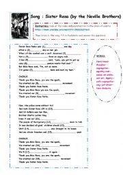 English Worksheet: The path to freedom: Sister Rosa by the Neville Brothers