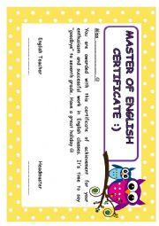 English Worksheet: master of english certificate