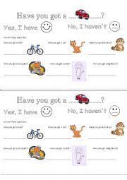 English Worksheet: Have you got .......? Yes, I have / No, I haven�t