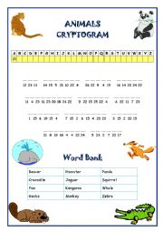 English Worksheet: Animals Cryptogram