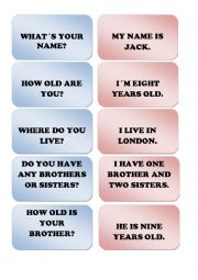 English Worksheet: Question answer memory cards 1
