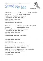 English Worksheet: Fill-in-the-Gaps Activity for �Stand By Me� by Ben E