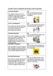 Activity Cards: Complaints and Dealing with Complaints