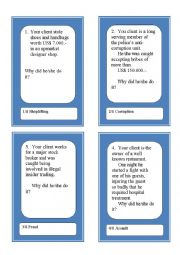 English Worksheet: Activity Cards and Role Play Game:  Crime and Justice 2
