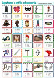 English Worksheet: Superheroes�s outfits and accessories