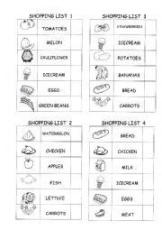 English Worksheet: Shopping list 2