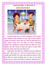 English Worksheet: A husband and a wife joke