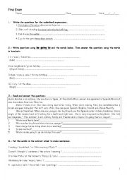 English Worksheet: Grammar review / final exam for high school students, 2nd grade