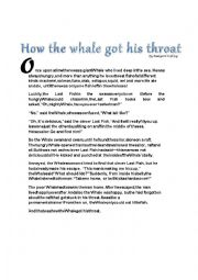 English Worksheet: How The Whale Got His Throat Story