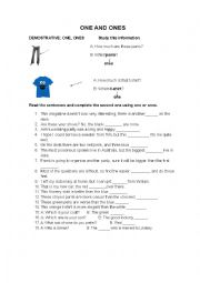English Worksheet: One and Ones