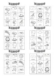 English Worksheet: Food bingo 1