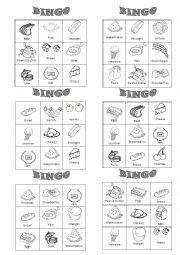 English Worksheet: Food bingo 2