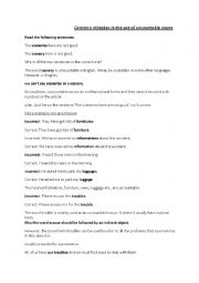 English Worksheet: common mistakes in the use of uncountable nouns