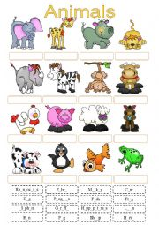 English Worksheet: Animals Cut and Paste Activity