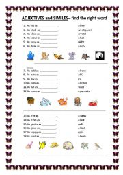 English Worksheet: ADJECTIVES and SIMILES