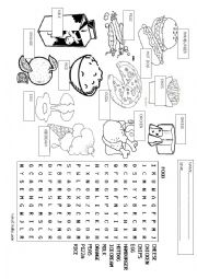 food wordsearch and vocabulary