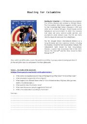 English Worksheet: Bowling for Columbine videos