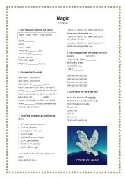 English Worksheet: Magic - Coldplay - Song Activity