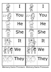 Memory Game Personal Pronouns