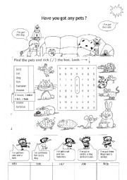 English Worksheet: Have you got any pets?
