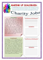 Making up Dialogues:  Charity Jobs