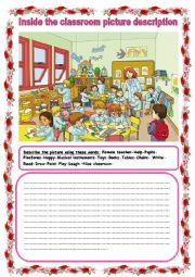 English Worksheet: inside the classroom picture description
