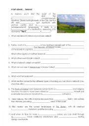 English Worksheet: Destination Ireland - Worksheet for National Geographic Video