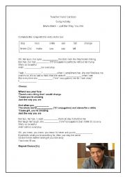 English Worksheet: Song Activity - Bruno Mars - Just the way you are