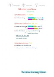 English Worksheet: EMBEDDED QUESTIONS MY CLASS