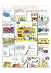 English Worksheet: Where is Everybody?--A Birthday Surprise--rooms of the house, present perfect, present continuous