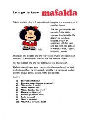 English Worksheet:  Mafalda
