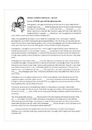 Comprehension questions and fill in the gap preposition exercise (in on at) for the