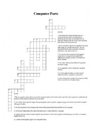 English Worksheet: Computer parts crossword