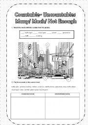 English Worksheet: COUNTABLES/UNCOUNTABLES NOUNS+ THERE IS MUCH+ THERE ARE MANY+ THERE ISN�T ENOUGH+ THERE AREN�T ENOUGH