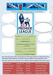 English Worksheet: Making Predictions with the English Premier League, 2014-15