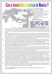 English Worksheet: Can a tunnel link America to Russia?(Reading + comprehension questions + KEY)