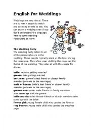 English Worksheet: English For Weddings