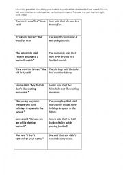English Worksheet: Direct/Indirect Speech Practice Game cards