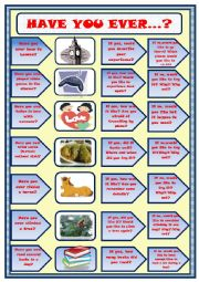 English Worksheet: Have you ever...? Speaking activity-questions