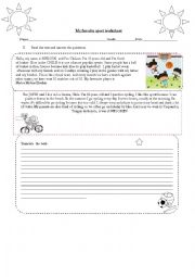 English Worksheet: reading sports