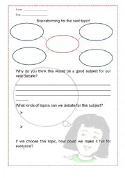 English Worksheet: Brainstorming A Debate Topic!
