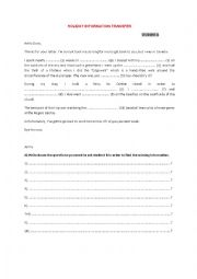 English Worksheet: Holiday information transfer
