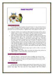English Worksheet: Narcolepsy