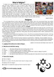 English Worksheet: Religion -(Adverbs of Quantity)