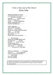 English Worksheet: THE CLUB AT THE END OF THE STREET, ELTON JOHN.