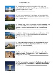 English Worksheet: Seven Wonders of the World Quiz
